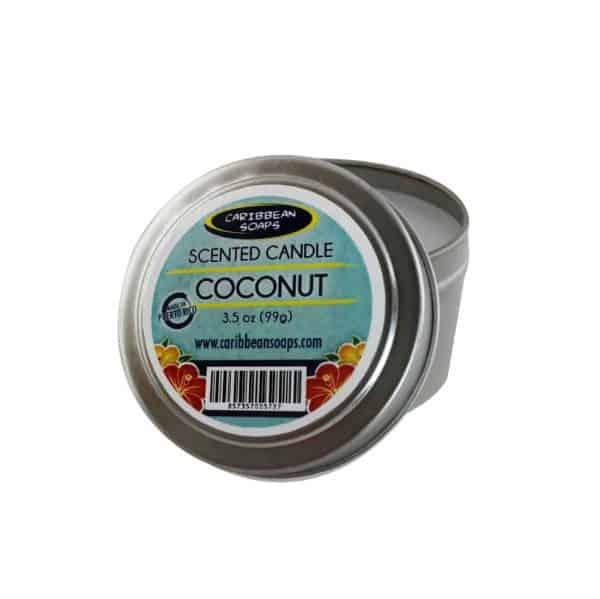 Vela en lata vertida en nuestra tienda de jabones preparada por caribbean soaps hecho en puerto rico 3.5 oz