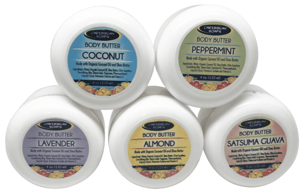 Display of Body butter jars made with premium ingredients like organic virgin coconut oils and olive sgualene 4 oz made in puerto rico by Caribbean Soaps