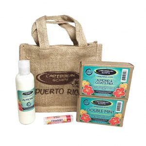 burlap gift set great caribbean souvenir includes 2 soaps one body cream and one lip balm prepared by caribbean soaps made in puerto rico