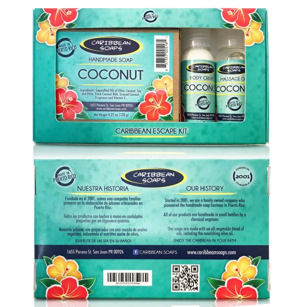 escape kit from puerto rico coconut hnadmade soap with body cream and massage oils gift