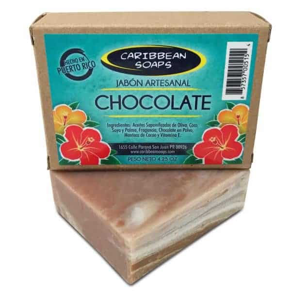 Chocolate handmade soap with cocoa butter made by Caribbean soaps 4.25 oz From puerto rico