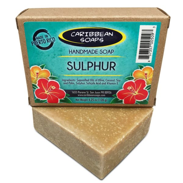 sulphur handmade soap soap from puerto rico great for acne best bar for body acne 4.25 oz Made by caribbean soaps