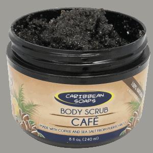 Nuestro scrub de cafe 100% Natural esta hecho a mano con una mezcla de cafe y sal marina de Puerto Rico. También añadimos aceite de coco por sus propiedades humectantes en la piel. preparado por Caribbean Soaps hecho en puerto rico 8 oz. tarro plástico