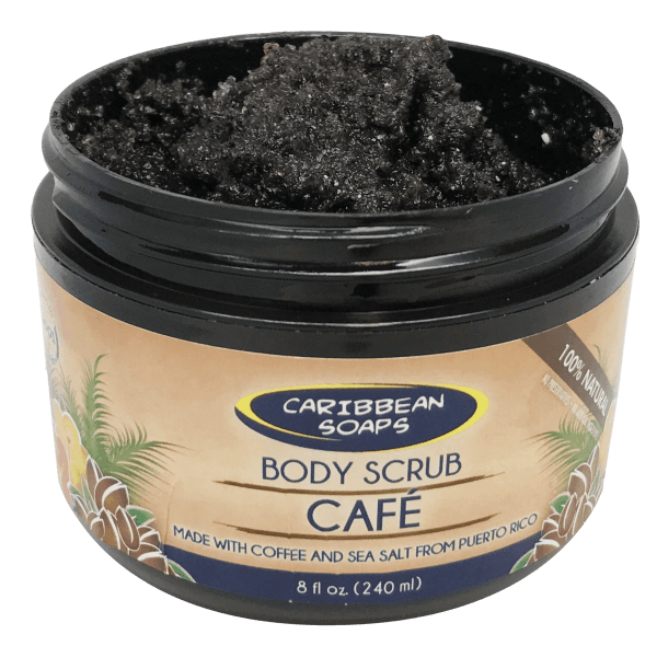 Our premium coffee scrub is handmade with a blend of 100% Puertorrican coffee and local sea salt. We also add coconut oil for its skin loving properties. prepared by caribbean soaps made in puerto rico 8 oz. plastic jar