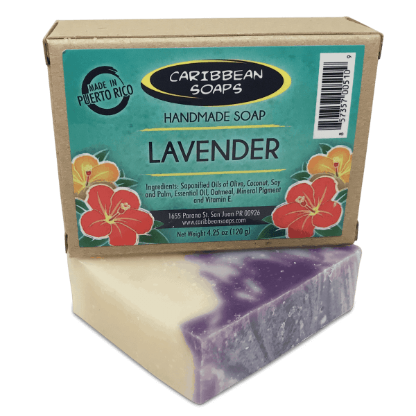 Lavender handmade soap a stress relief bar prepared by Caribbean Soaps made in Puerto Rico 4.25 oz.