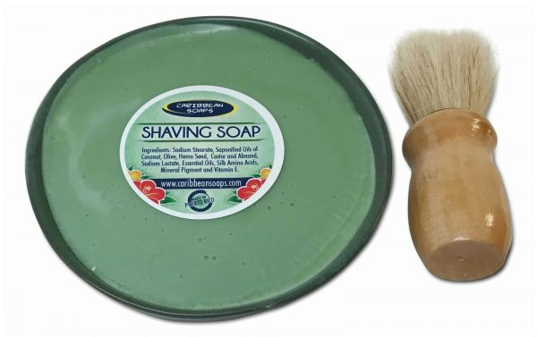 Shaving Set with handmade soap made with olive and hemp oils with shaving brush prepared by caribbean soaps made in puerto rico