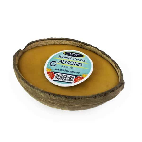 Coconut Half Shell Candle in real coconut shell hand poured in our shop prepared by caribbean soaps made in puerto rico 3.5 oz Almond Scented
