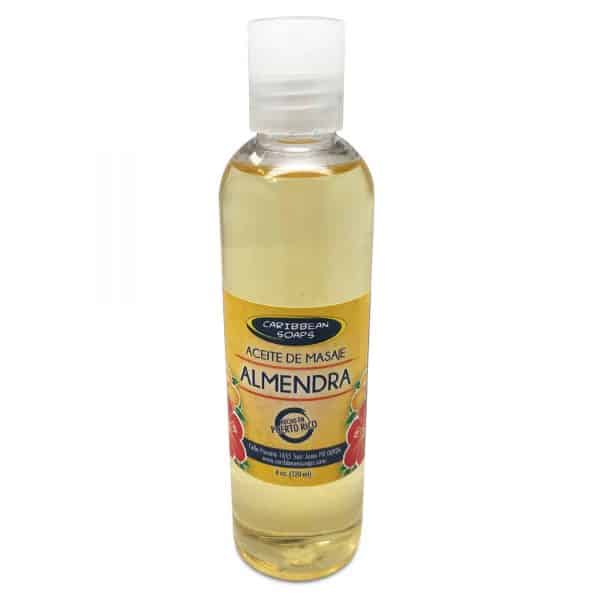 sweet almond massage oil perfect for massage with almond fragrance prepared by caribbean Soaps made in puerto rico 4 oz