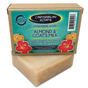 Jabon Artesanal Almendra y Leche de Cabra mejor jabón de lujo jabón preparado por Caribbean Soaps y hecho en Puerto Rico 4.25 onzas