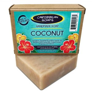 Jabón artesanal de coco caribeño preparado por Caribbean Soaps hecho en Puerto Rico 4.25 onzas