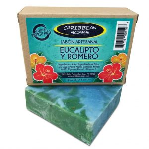 artisanal soap eucalyptus and rosemary made in puerto rico by caribbean soaps 4.25 ounces