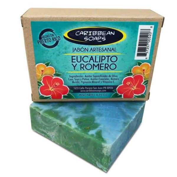 Eucalyptus and rosemary handmade soap from Caribbean soaps made in Puerto Rico 4.25 ounces