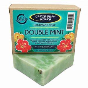 Doble Menta un jabon artesanal de menta Refrescante preparados por caribbean Soaps hecho en Puerto Rico 4.25 oz