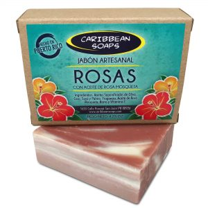 Rose handmade soap with rose hip oil 4.25 ounces From Caribbean Soaps made in Puerto Rico