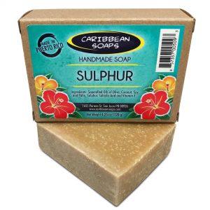jabón artesanal de azufre o azufre de Puerto rico ideal para acné mejor barra para acné corporal 4.25 oz preparado porr caribbean soaps hecho en Puerto Rico