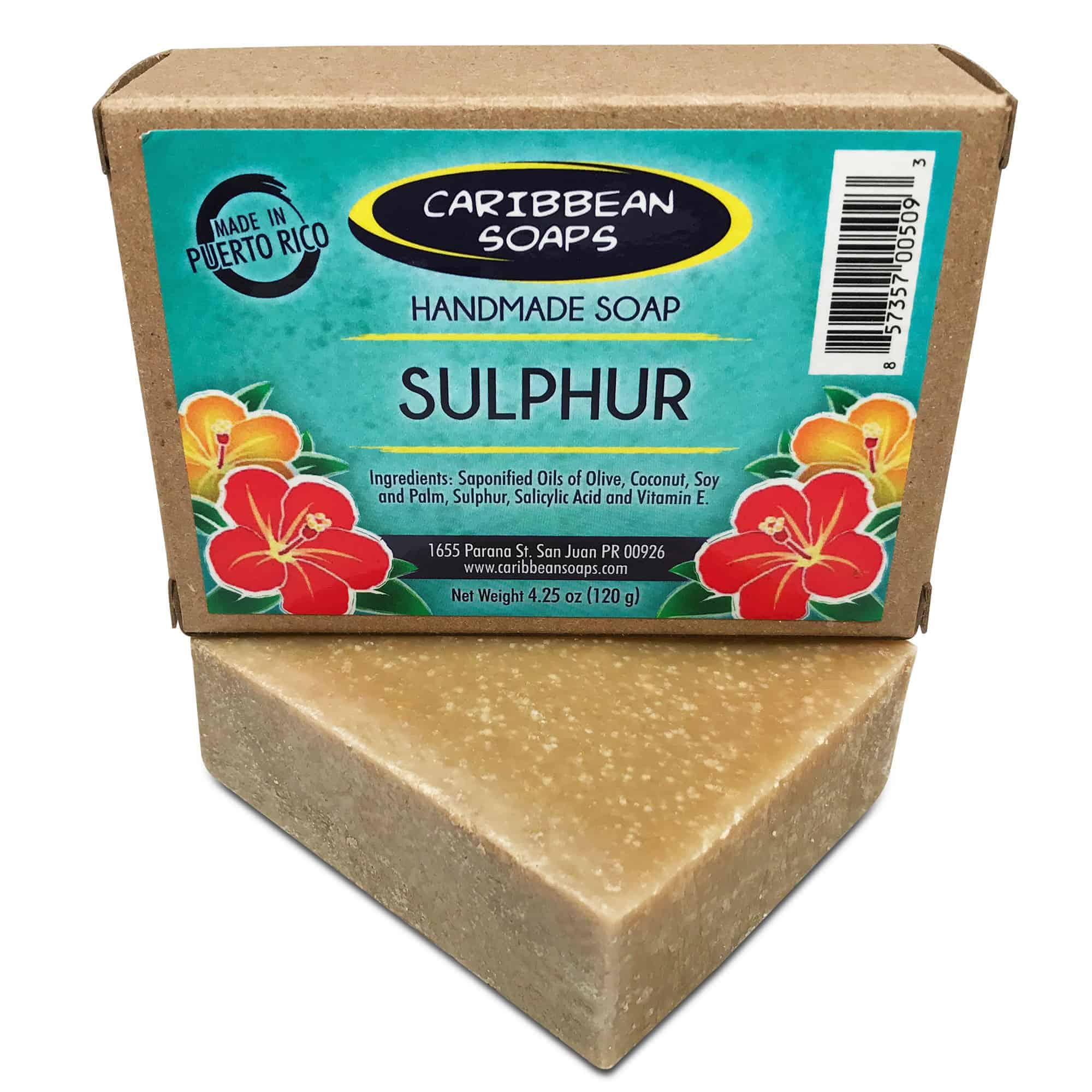 sulphur or sulfur handmade soap soap from puerto rico great for acne best bar for body acne 4.25 oz prepared by caribbean soaps made in Puerto Rico