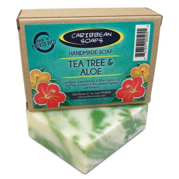 Tea tree and aloe handmade soap made in Puerto Rico great for acne antiseptic Made by caribbean soaps Scientific name for tea tree melaleuca alternifolia