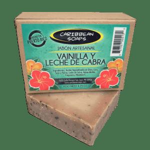 jabón hidratante artesanal de vainilla y leche de cabra hecho en puerto rico por Caribbean Soaps 4.25 onzas