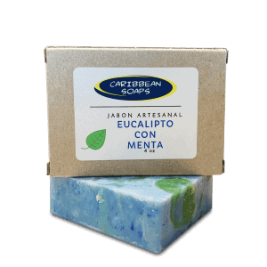 eucalyptus and peppermint handmade soap 4.25 oz. prepared by caribbean soaps made in puerto rico