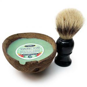 unique gift of puerto rico shaving set in a natural coconut with natural brush prepared by Caribbean Soaps made in Puerto Rico