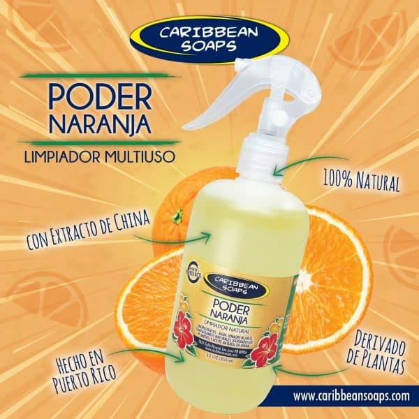 poder naranja limipador citrico natural preparado por caribbean soaps hecho en puerto rico